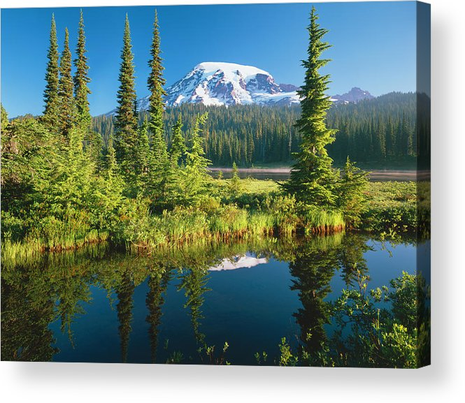 Water's Edge Acrylic Print featuring the photograph Mount Rainier National Park by Ron thomas
