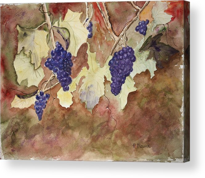Grapes Acrylic Print featuring the painting On The Vine by Patricia Novack