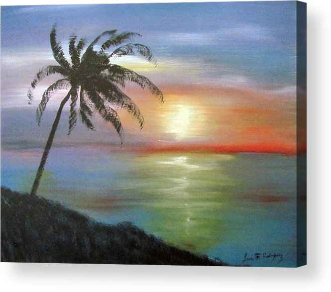 Palm Sunset Acrylic Print featuring the painting Palm Sunset by Luis F Rodriguez