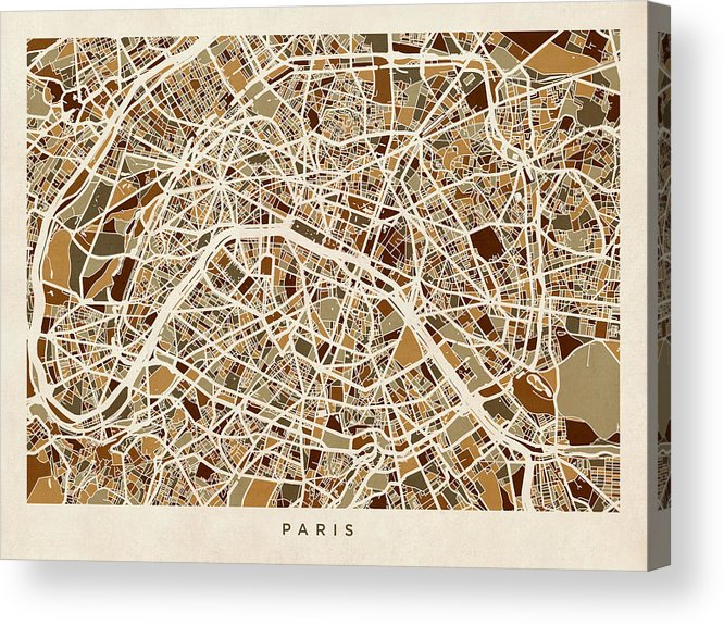 Paris Acrylic Print featuring the digital art Paris France Street Map by Michael Tompsett