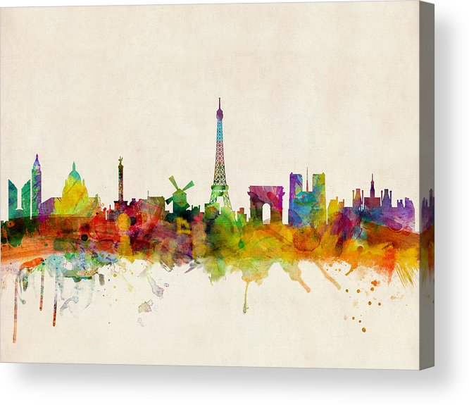 Paris Acrylic Print featuring the digital art Paris Skyline by Michael Tompsett