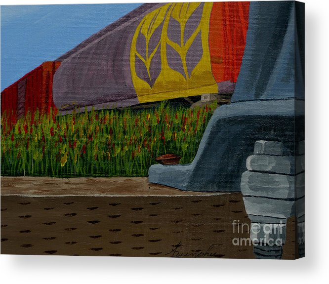 Train Acrylic Print featuring the painting Passing the wild ones by Anthony Dunphy