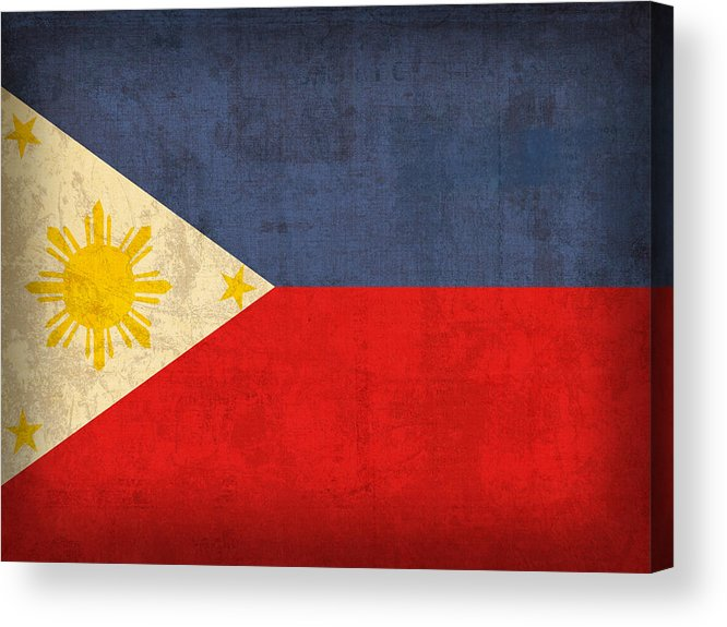 Philippines Acrylic Print featuring the mixed media Philippines Flag Vintage Distressed Finish by Design Turnpike