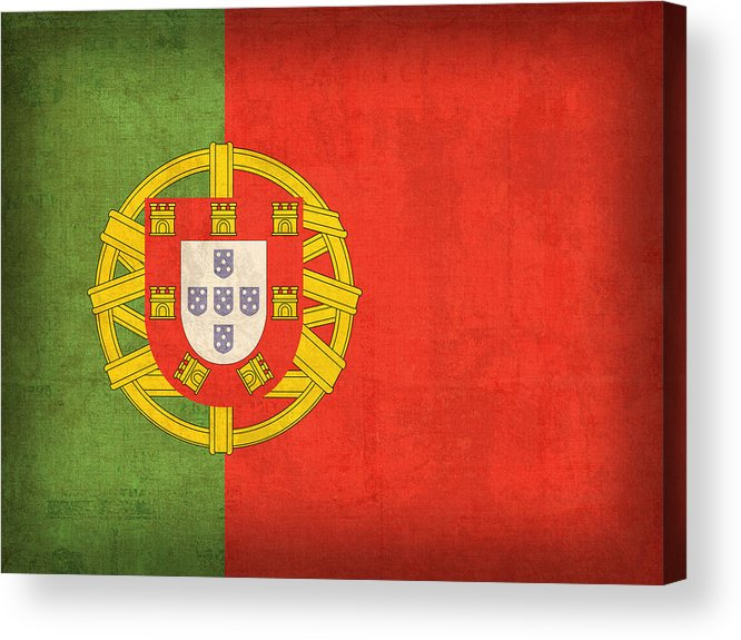 Portugal Flag Vintage Distressed Finish Lisbon Portuguese Europe Nation Country Acrylic Print featuring the mixed media Portugal Flag Vintage Distressed Finish by Design Turnpike