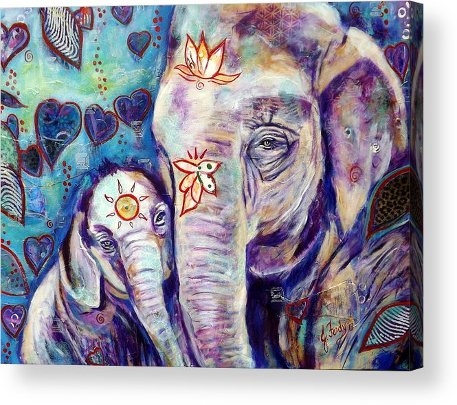 Elephant Painting Acrylic Print featuring the painting Purest Love by Goddess Rockstar