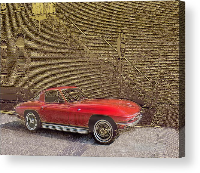 Cars Acrylic Print featuring the mixed media Red Corvette by Steve Karol
