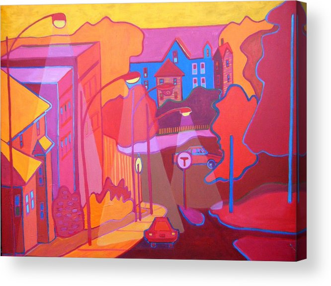 Cityscape Acrylic Print featuring the painting Roslindale Never Looked so Red by Debra Bretton Robinson