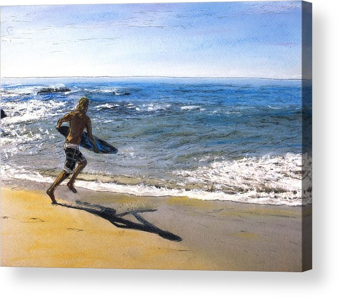 California Acrylic Print featuring the mixed media Skim Boarding at Pearl Beach Now Sold by Randy Sprout