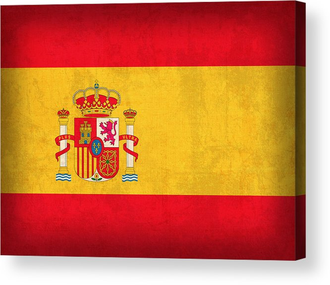 Spain Flag Vintage Distressed Finish Spanish Madrid Barcelona Europe Nation Country Acrylic Print featuring the mixed media Spain Flag Vintage Distressed Finish by Design Turnpike