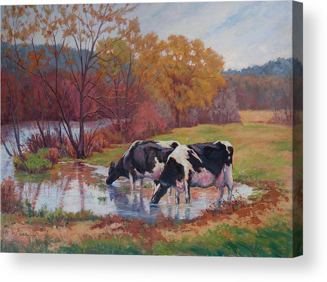 Landscape Acrylic Print featuring the painting Spring Pastoral by Keith Burgess