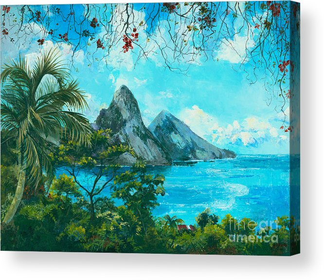 Mountains Acrylic Print featuring the painting St. Lucia - W. Indies by Elisabeta Hermann