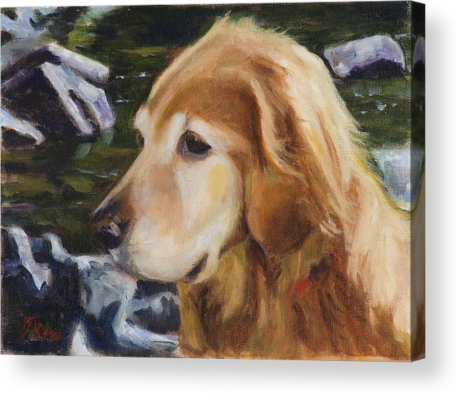 Dog Acrylic Print featuring the painting Standing by the River by Billie Colson