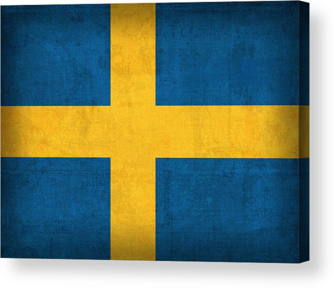 Sweden Flag Vintage Distressed Finish Acrylic Print featuring the mixed media Sweden Flag Vintage Distressed Finish by Design Turnpike