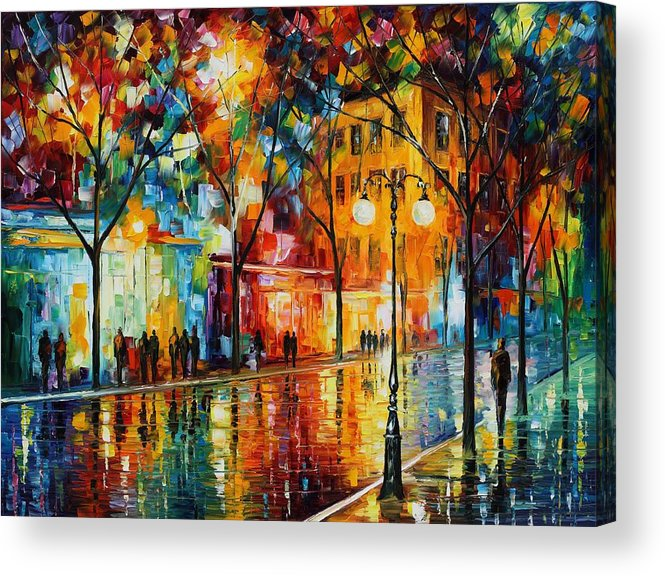 Leonid Afremov Acrylic Print featuring the painting The Tears Of The Fall - Palette Knife Oil Painting On Canvas By Leonid Afremov by Leonid Afremov
