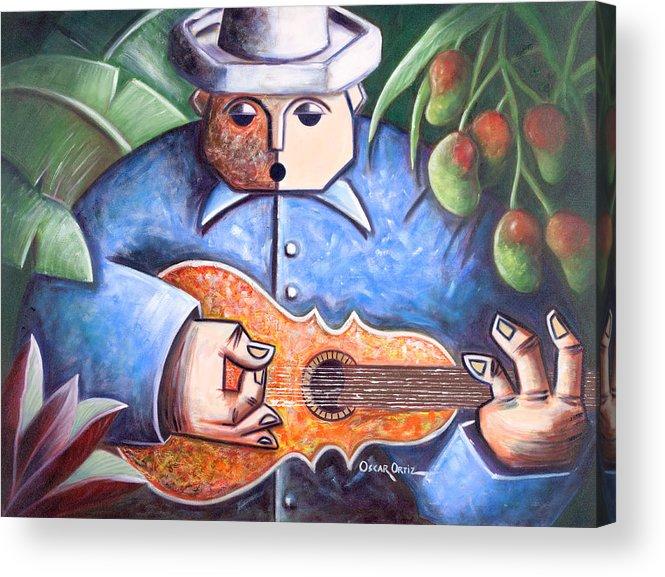 Puerto Rico Acrylic Print featuring the painting Trovador de mango bajito by Oscar Ortiz