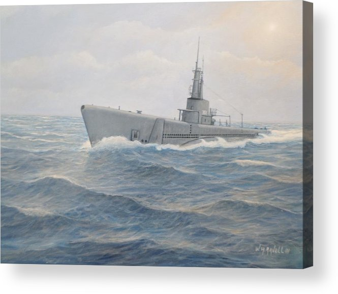 Submarines Acrylic Print featuring the painting USS Jallao by William Ravell