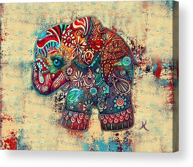 Elephant Mask Acrylic Print featuring the painting Vintage Elephant by Karin Taylor