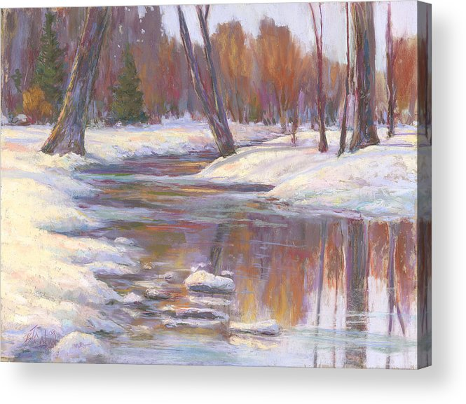 Snow And Stream Acrylic Print featuring the painting Warm Winter Reflections by Billie Colson