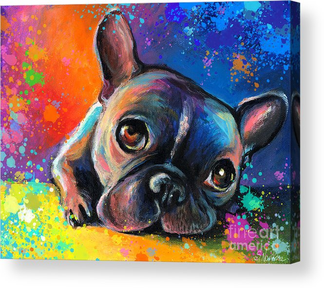 French Bulldog Prints Acrylic Print featuring the painting Whimsical Colorful French Bulldog by Svetlana Novikova