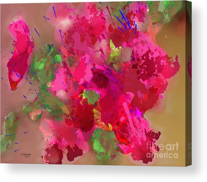 Abstract Acrylic Print featuring the painting Abstract Bougainvillea Painting Floral Wall Art by Judy Filarecki