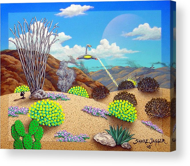 Desert Acrylic Print featuring the painting Afternoon Attack by Snake Jagger