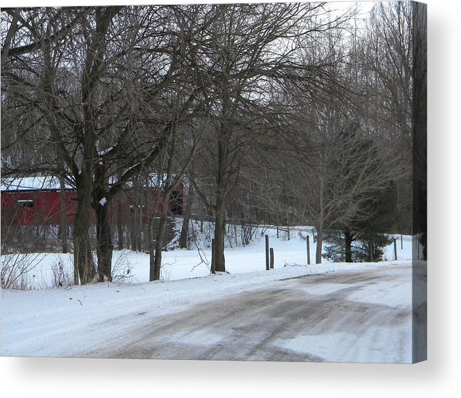 Snow Acrylic Print featuring the photograph Baker's Camp Covered Bridge by Helen ONeal