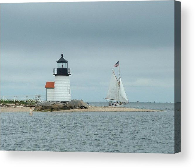 Sailboat Acrylic Print featuring the photograph Brant Point Abeam by Lin Grosvenor