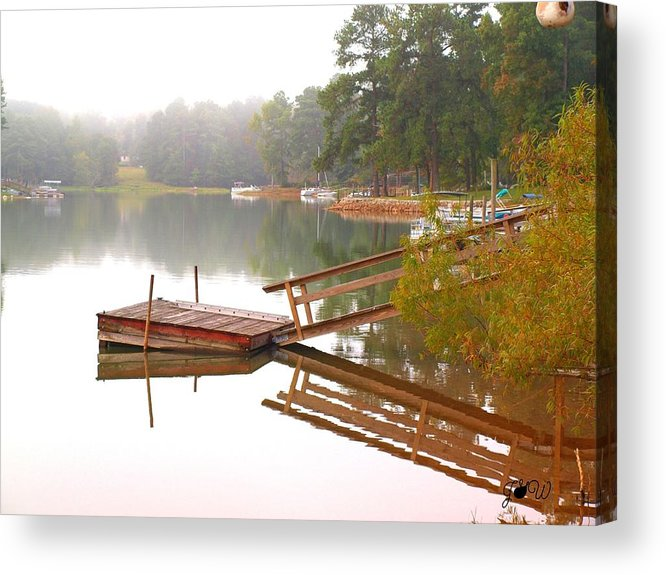 Red Acrylic Print featuring the photograph Dock Reflections by Judy Waller