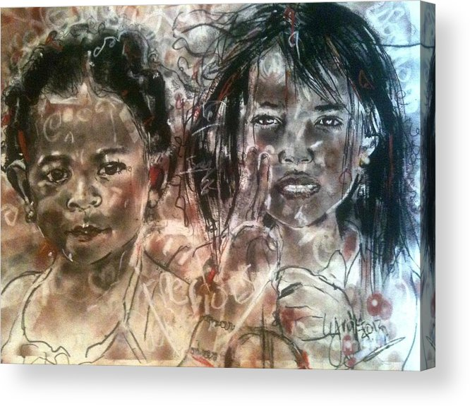 Children Acrylic Print featuring the drawing Love Warriors by Lynn Gray