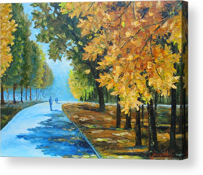 Landscape Acrylic Print featuring the painting Memory park by Charles Vaughn