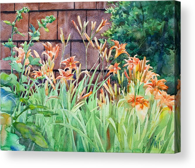 Acrylic Print featuring the painting Oxenden Lilies by Peter Sit