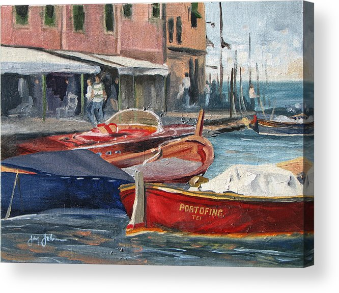 Italy Harbor Boats Acrylic Print featuring the painting Portofino Afternoon by Jay Johnson