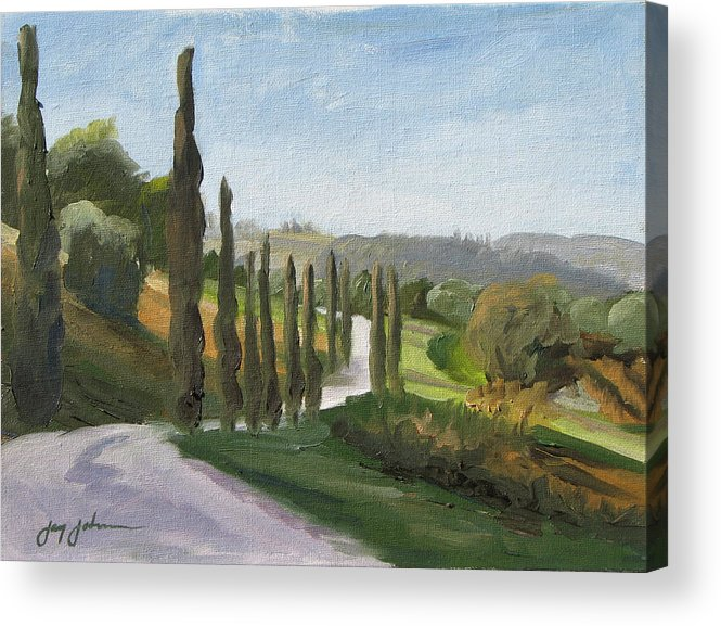 Landscape Acrylic Print featuring the painting Casa Benne Villa Road by Jay Johnson