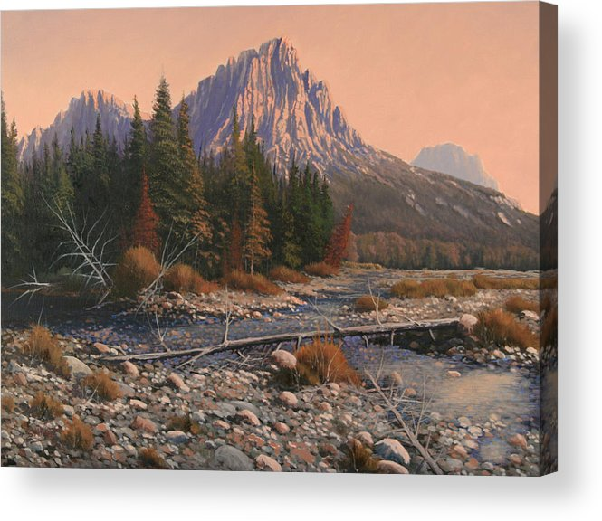 Rocky Mountain Landscape Acrylic Print featuring the painting 080525-1620 Fading Light On Horse Thief Creek by Kenneth Shanika