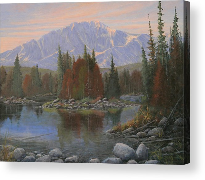 Landscape Acrylic Print featuring the painting 090506-1418  Colorado Morning by Kenneth Shanika