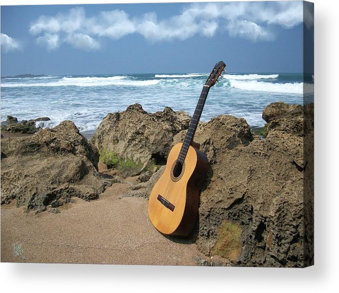 Seascape Acrylic Print featuring the photograph Guitar Seascape by Tony Rodriguez