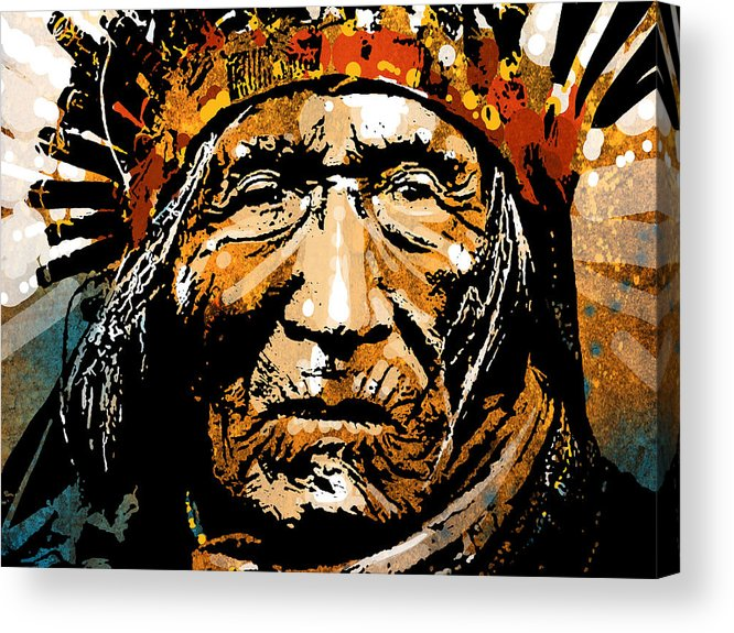 Native American Acrylic Print featuring the painting He Dog by Paul Sachtleben