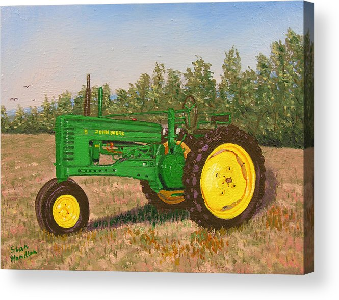Tractor Acrylic Print featuring the painting John Deere Model B by Stan Hamilton