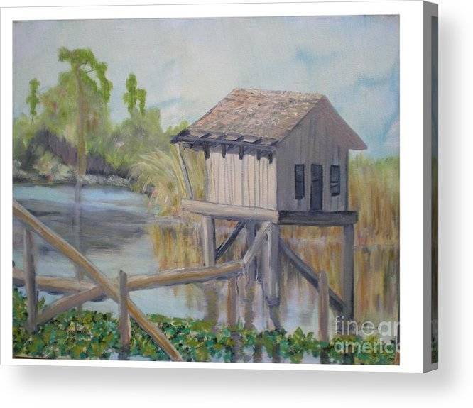 Seascape Acrylic Print featuring the painting Pole House by Hal Newhouser