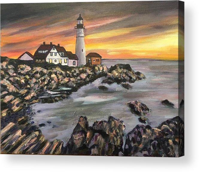Portland Head Acrylic Print featuring the painting Portland Head Lighthouse by Richard Nowak