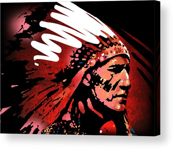 Native American Acrylic Print featuring the painting Red Pipe by Paul Sachtleben
