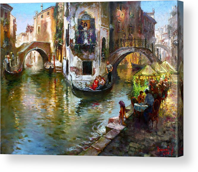 Romance In Venice Acrylic Print featuring the painting Romance in Venice by Ylli Haruni