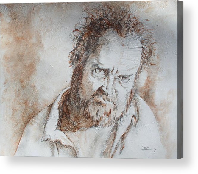 Portrait Acrylic Print featuring the drawing Untitled 1 by Victor Amor