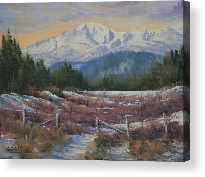 Pikes Peak Acrylic Print featuring the painting 110123-68 Winters' Rejuvenation by Kenneth Shanika
