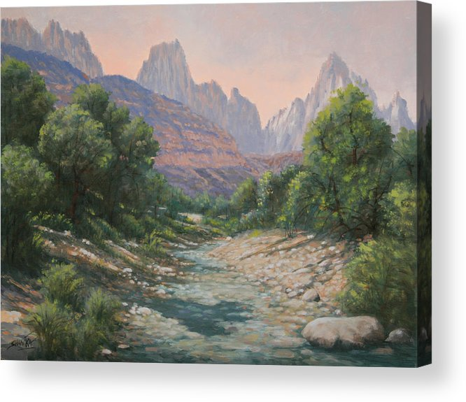 Rocky Mountains Acrylic Print featuring the painting 110124-1216  Bryce Canyon Run-Off by Kenneth Shanika