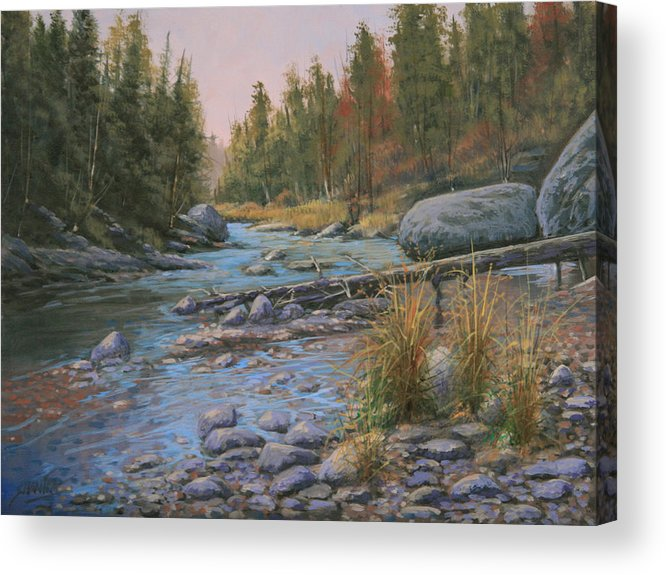 Rocky Mountains Acrylic Print featuring the painting 110128-912 Autumns' Gift by Kenneth Shanika