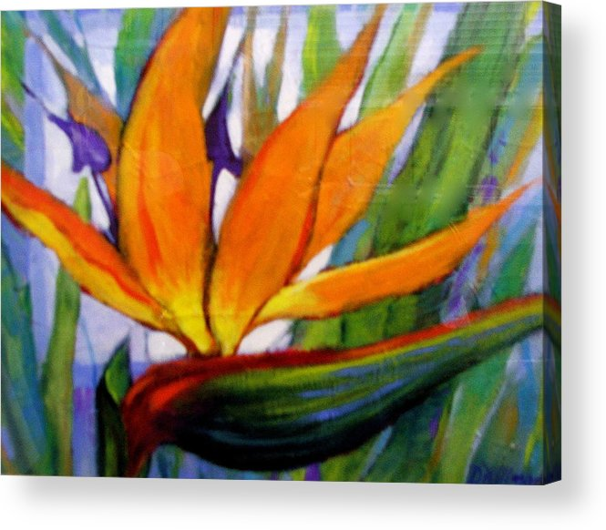 Flower Acrylic Print featuring the painting Bird of Paradise by Dianna Willman