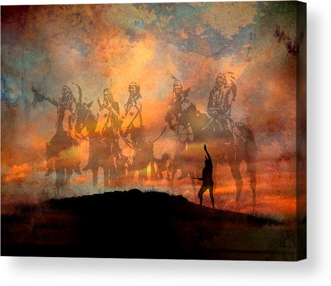 Native Americans Acrylic Print featuring the painting Forefathers by Paul Sachtleben