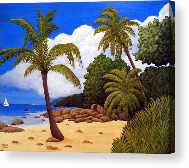 Landscape Art Acrylic Print featuring the painting Tropical Island Beach by Frederic Kohli