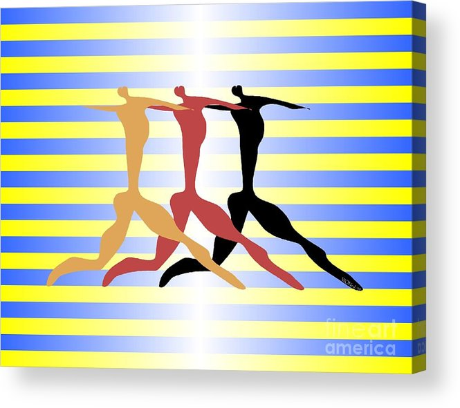 Dance Acrylic Print featuring the digital art 3 Dancers by Walter Neal